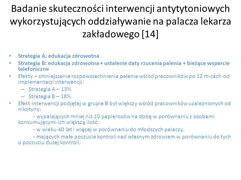 Badanie skuteczności interwencji antytytoniowych wykorzystujących oddziaływanie na palacza lekarza zakładowego [14]